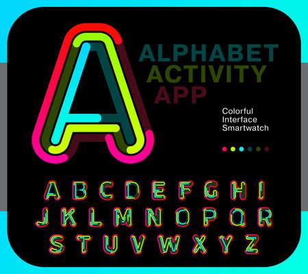Alphabet pour l'application d'activité. Trait de ligne de police de lettres colorées avec trois couleurs. Idéal pour smartwatch et interface de mobilité numérique. Échantillon d'illustration vectorielle.