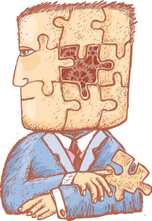 a man with a puzzle piece in his hand and some mechanical gears into his head. A head divided by puzzle pieces. Concept for some psyche related work.
