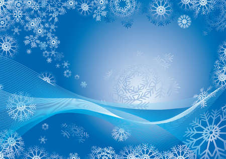freeze: abstract blue christmas background with snowflakes falling Illustration