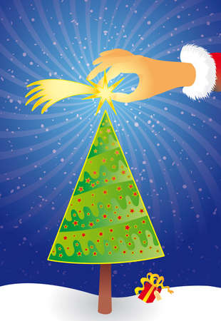 A santa claus hand put a comet star on a christmas tree. Vector