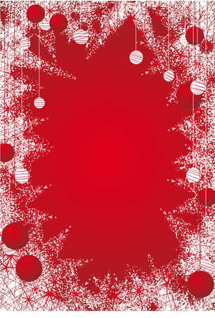 Red christmas icy frame with christmas balls. Vector