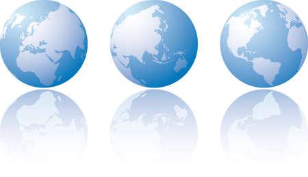 Three globe world views with reflection
