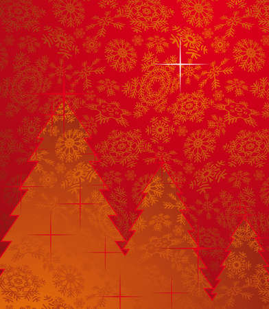 Red christmas background with trees and snowflakes