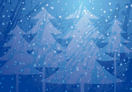 snow falling: christmas background con alberi sotto una neve caduta