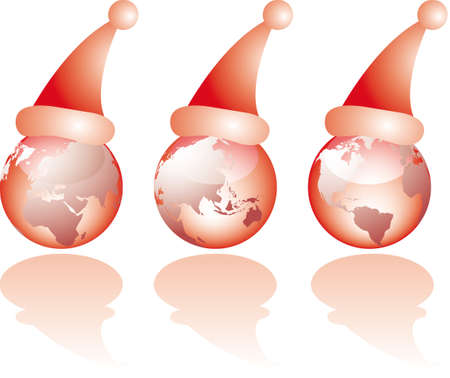 santa       hat: Three globe world glass views with christmas santa hat