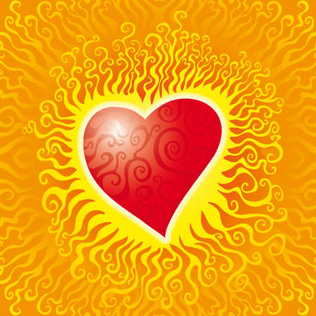 red love heart with flames: un coraz�n inflamado caliente con remolinos dentro  Vectores