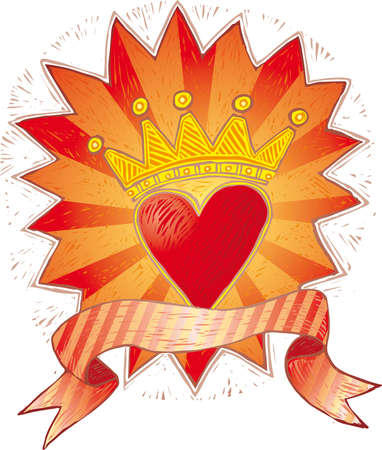 fondness: a crowned folk heart with banner in engrave style