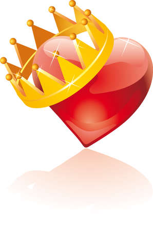 a  glass heart with an hanging crown