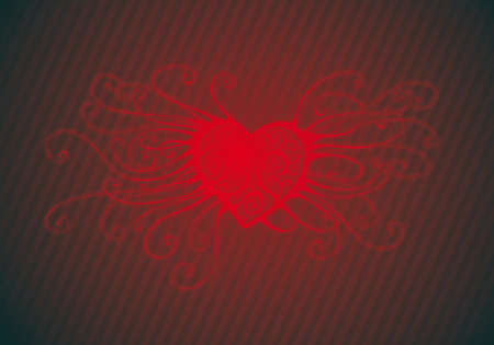 sensitivity: a big red swirl heart  over a lines background