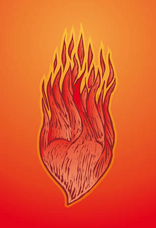 a heart burning with flames in engrave style Stock Vector - 2319773