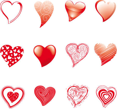 sensitivity: a set of hearts drawned in various styles and technics