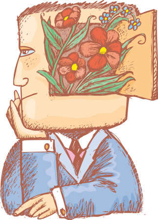 ponder: an enchanted man with flowers inside his head.