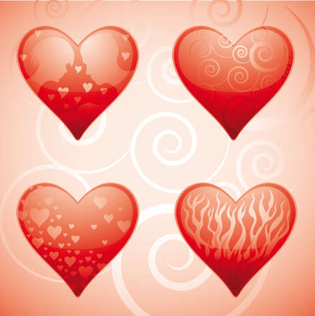 four glossy valentine hearts with various elements inside. Every heart reside in separate layer Иллюстрация
