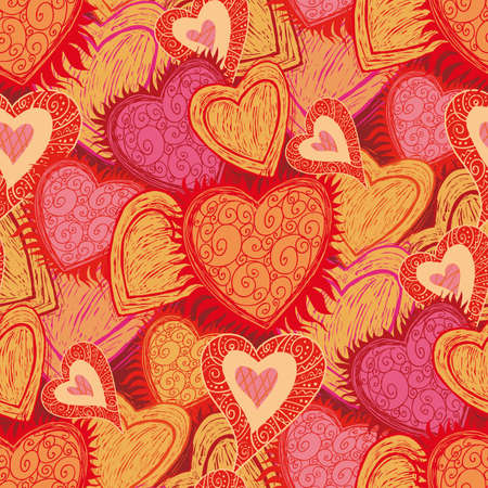 select all: hearts folk pattern in engrave style. Select all the art and drop it into your swatches palette to create an Illustrator pattern. Illustration