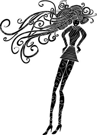 a long hair woman silhouette with long legs and swirl stockings