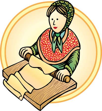 kneading: Vecchia Europa donna fare la pasta, la cucina tradizionale italiana Vettoriali