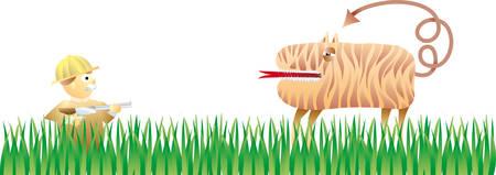stalking: a hunter that found a strange tiger Illustration