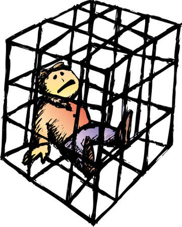 a poor man close into a cage