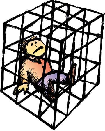 bred: un pobre hombre en una estrecha jaula