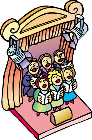 a classic choir singing into an theater stage
