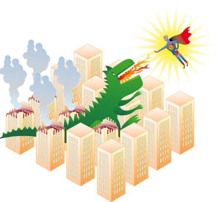exclusion: Godzilla Stop! Flying superhero stop Godzilla from his destruction routine