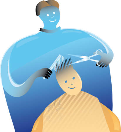 Barber is working on a boy hair Stock Vector - 3474608