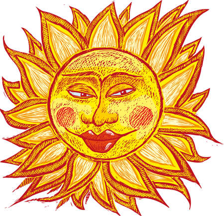 summer solstice: Ialian ancient sun in old engrave style.