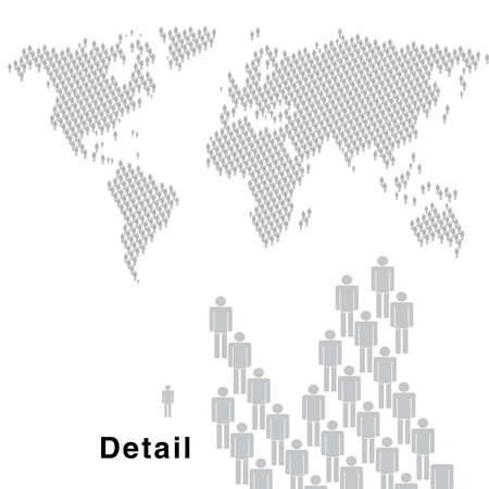 demography: Map of the world made by hundreds of little man symbols.