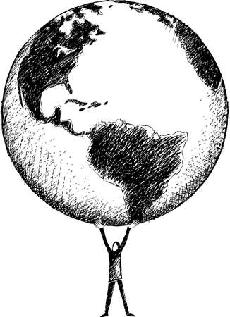 Man that hold in his hands the whole world globe. Vector