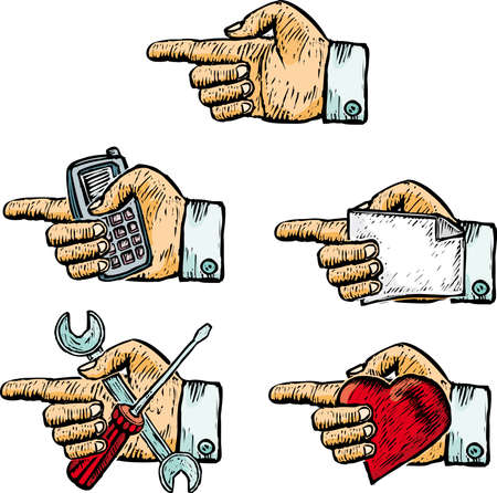 pinning: Five hands with various objects inside in engrave style Illustration