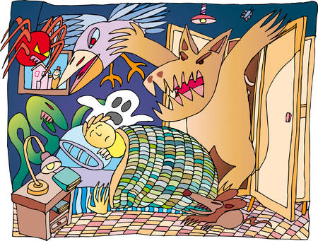 Boy that are dreaming scary monsters around his bed Illustration