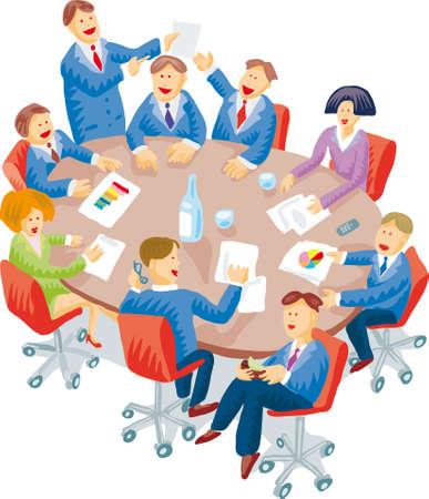 board room: Reuni�n instant�nea de la habitaci�n con un mont�n de comportamientos individuales Vectores