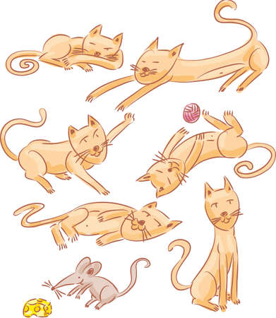 laziness: Six lazy cats and one mouse sketch illustrations Illustration