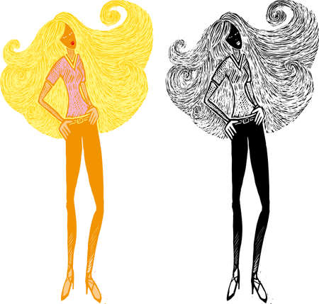 Woman with a great long hair in swirls shape
