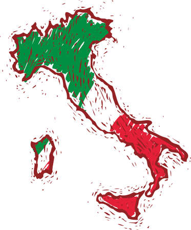 bandera de italia: Italia mapa con pabell�n italiano en estilo grabar.
