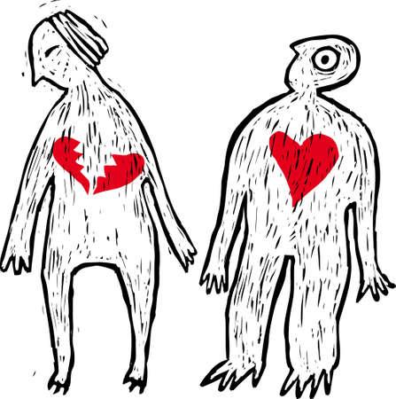 End of a love story concept. Divorce or similar concept Illustration