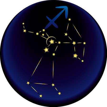 Sagittarius constellation plus the Sagittarius astrological sign