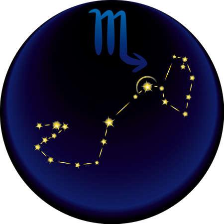 Scorpio constellation plus the Scorpio astrological sign Illustration