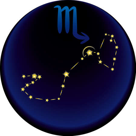 fortune telling: Scorpio constellation plus the Scorpio astrological sign Illustration