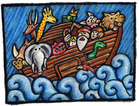 Noah's Ark Illustration. Noah's Animals are waiting for the end of the Rain