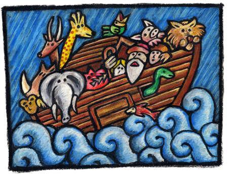 noah: Noahs Ark Illustration. Noahs Animals are waiting for the end of the Rain