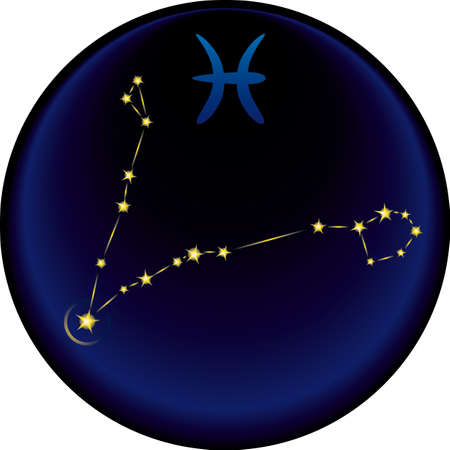 Pisces constellation plus the Pisces astrological sign Vector