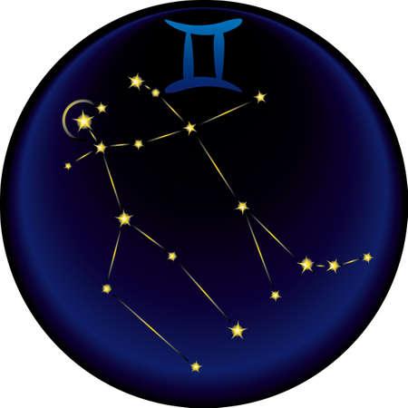 Gemini constellation plus the Gemini astrological sign