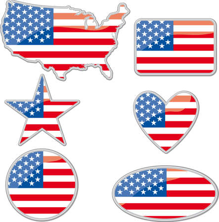 stella polare: Various shapes with the Usa flag inside