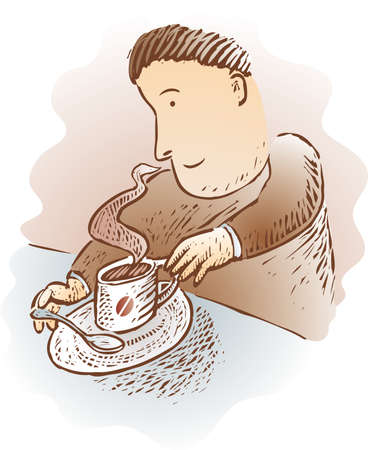 Man with a warm cup of coffee in engrave style