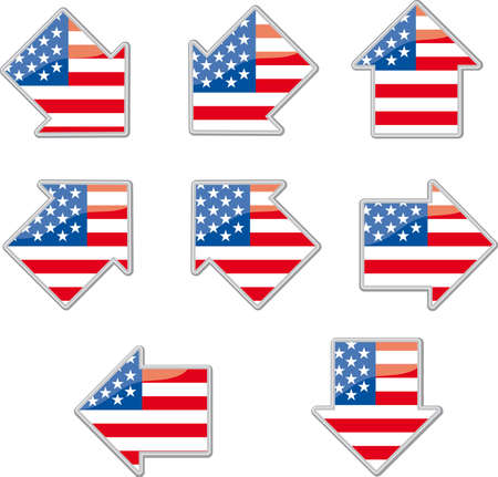 Eight arrow shapes with the Usa flag inside Illustration