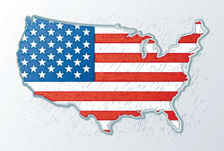 USA map with the usa flag inside in engrave style Stock Vector - 3494711