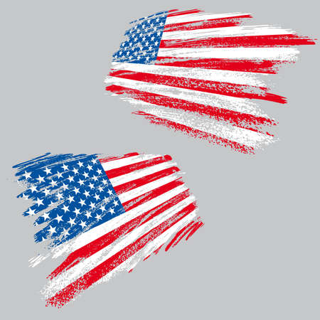 Two perspective views of the USA flag in grunge style, all vector