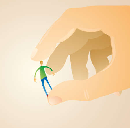 domination: Little man between two fingers of a giant hand.  Illustration