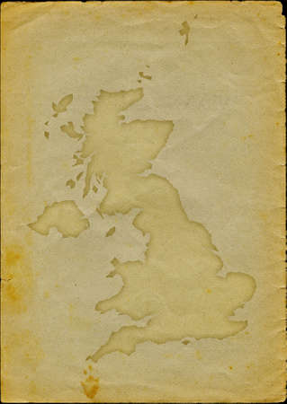 uk map: UK map with flag inside engraved on a old paper page Stock Photo